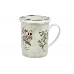 Herbs Botanica 0.25 l - porcelain mug with a lid and stainless steel strainer