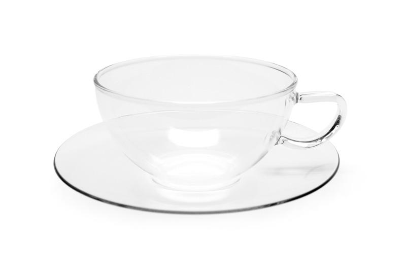 Mikado - sklenený šálka s tanierikom