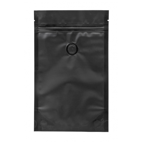 Bag for coffee 150 g; black with zip closing and valve