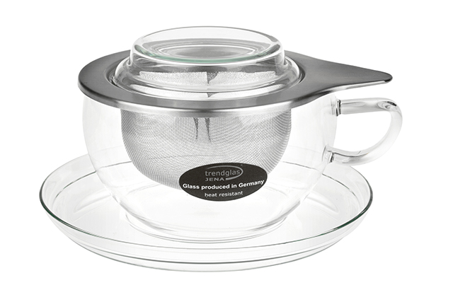 Beata 0.4 l - glass tea cup with a stainless steel strainer