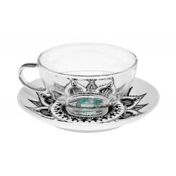 Mandala lotos 0,2 l - skleněný šálek s porc.podšálkem