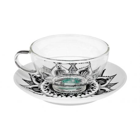 Mandala Lotus 0.2 l glass mug and porcelain saucer