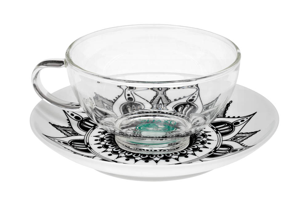 Mandala Lotus 0.2 l glass mug and porcelain saucer