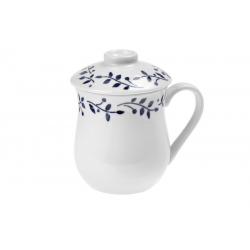 Herbs Blue Leaves - porcelain mug with strainer 0.33 l