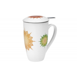 Mandala Herbs 0.4 l - porcelain mug with lid and strainer