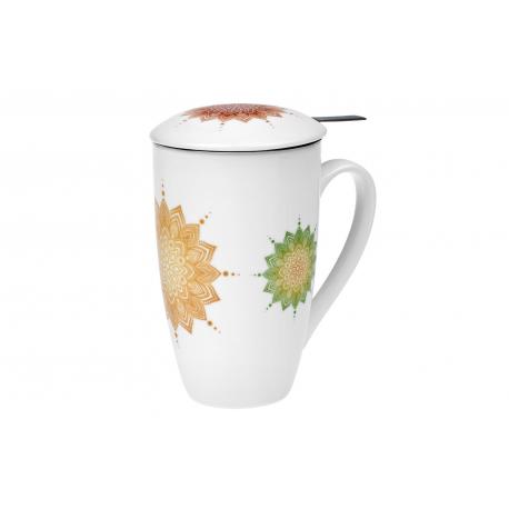 Mandala Herbs 0.4 l - porcelain mug with lid and strainer