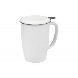 Kukui 0.44 l - porcelain mug with a stainless steel strainer and lid