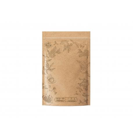 Sáček zipový EKO kompostovatelný - hnědý na kávu 250 g