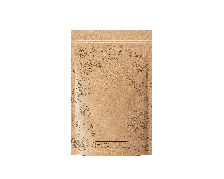 Sáček zipový EKO kompostovatelný - hnědý na kávu 100 g