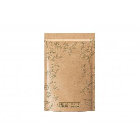 Sáčok zipsový EKO kompostovateľný - zelený na čaj 100 g