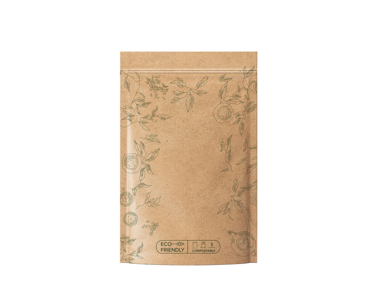 Sáček zipový EKO kompostovatelný - zelený na čaj 100 g