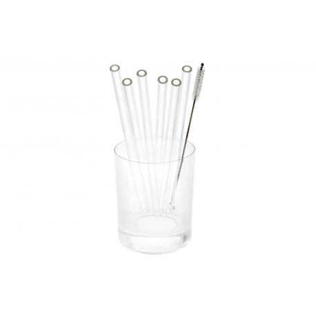 Glass straws - 20 cm long, diameter 8 mm