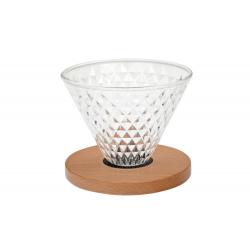 Diamond - skleněný dripper s dřevěným prstencem