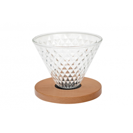 Diamond - glass dripper with beechwood and silicone ring