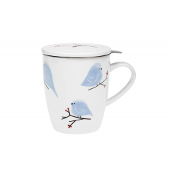 Birds - infuser mug 0.35 l with stainless steel strainer and lid