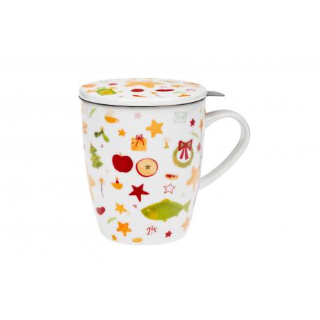 Vianočná tradícia - porcelánový hrnček s nerez. sitkom a pokrievkou 0,35 l